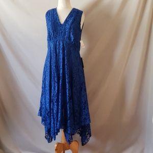 Taylor V-Neck Blue Lace Asymmetrical Midi Dress